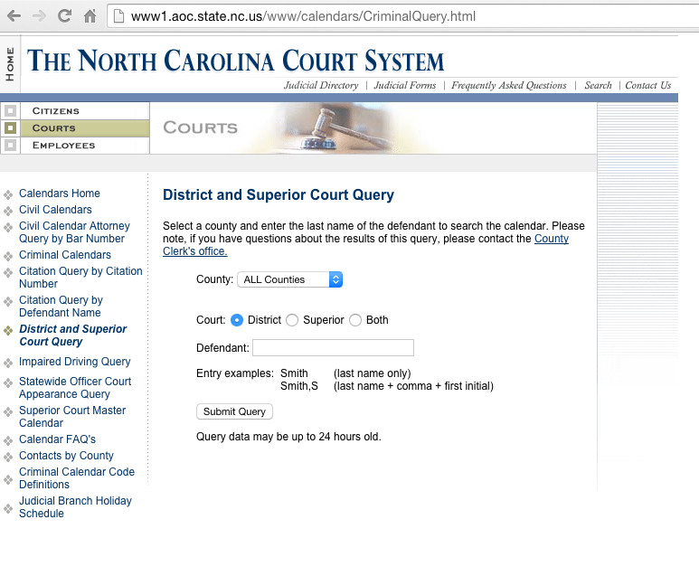 NC Courts Calendar - BernieSez